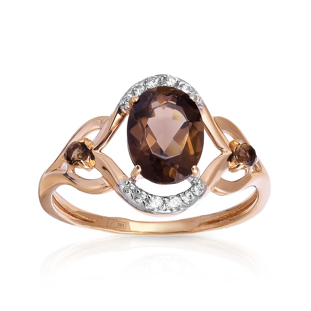 Кольцо с раух-топазами и фианитами из золота