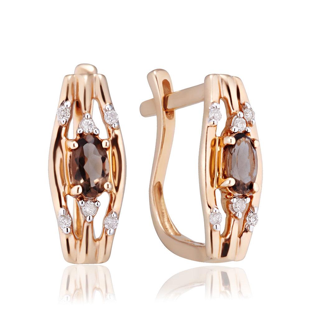 Серьги с раух-топазом и бриллиантами