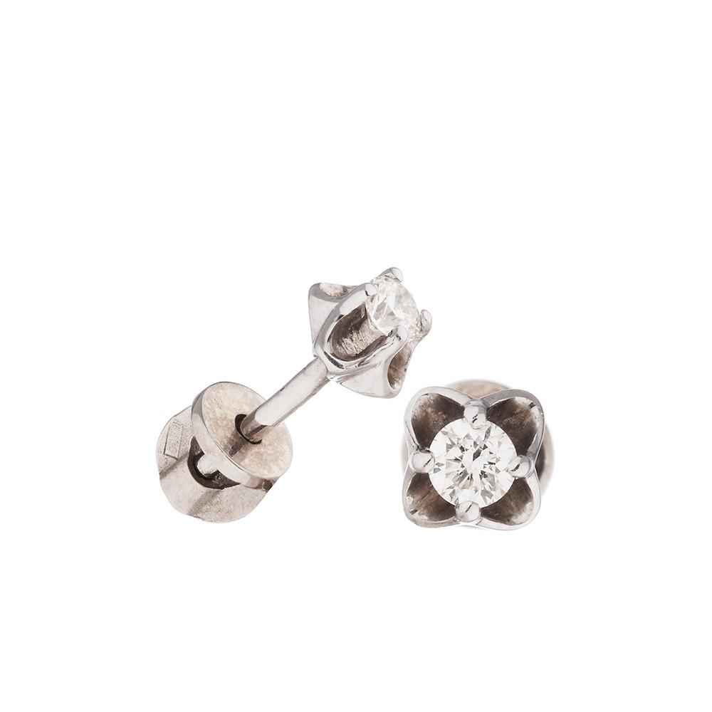 Серьги-пуссеты с бриллиантом