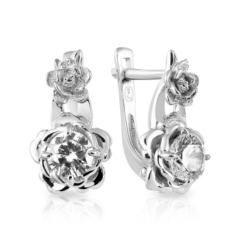 57b541a654cf Серьги с фианитом из серебра — Ювелирный интернет-магазин 585 Золотой.