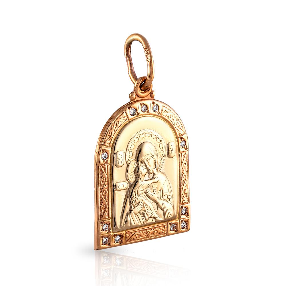 Подвес-икона с фианитами из золота