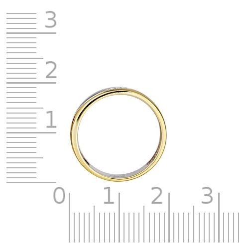 Кольцо обручальное с бриллиантами, лимонным золочением и родированием