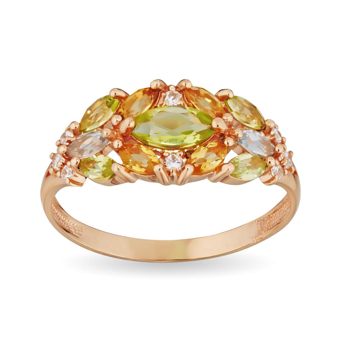 Кольцо с хризолитом, цитрином, топазом и фианитами из золота