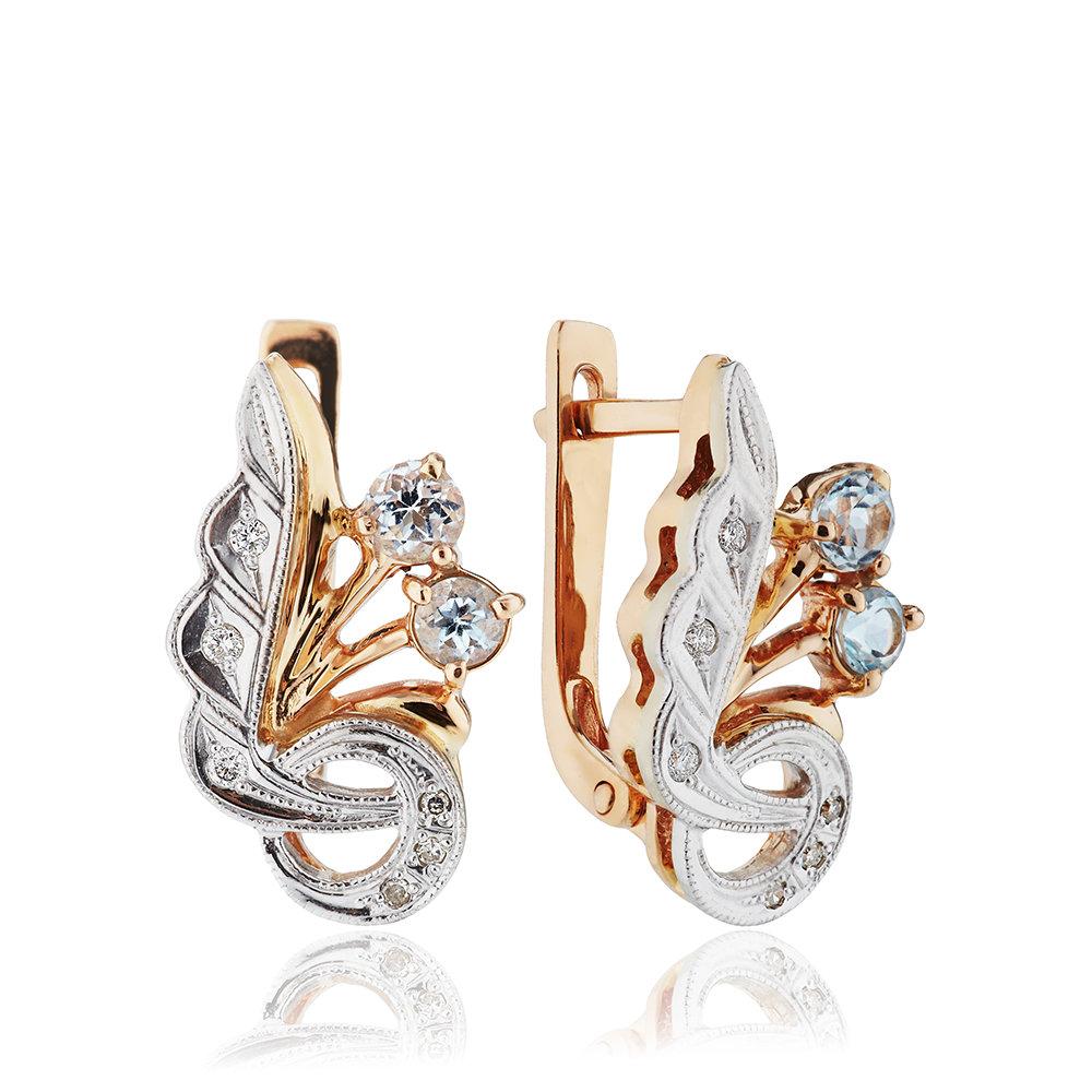Серьги с топазами и бриллиантами из золота