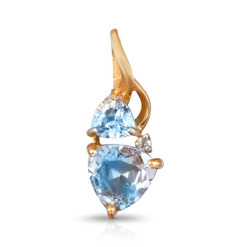 Подвеска с топазами и бриллиантом из золота