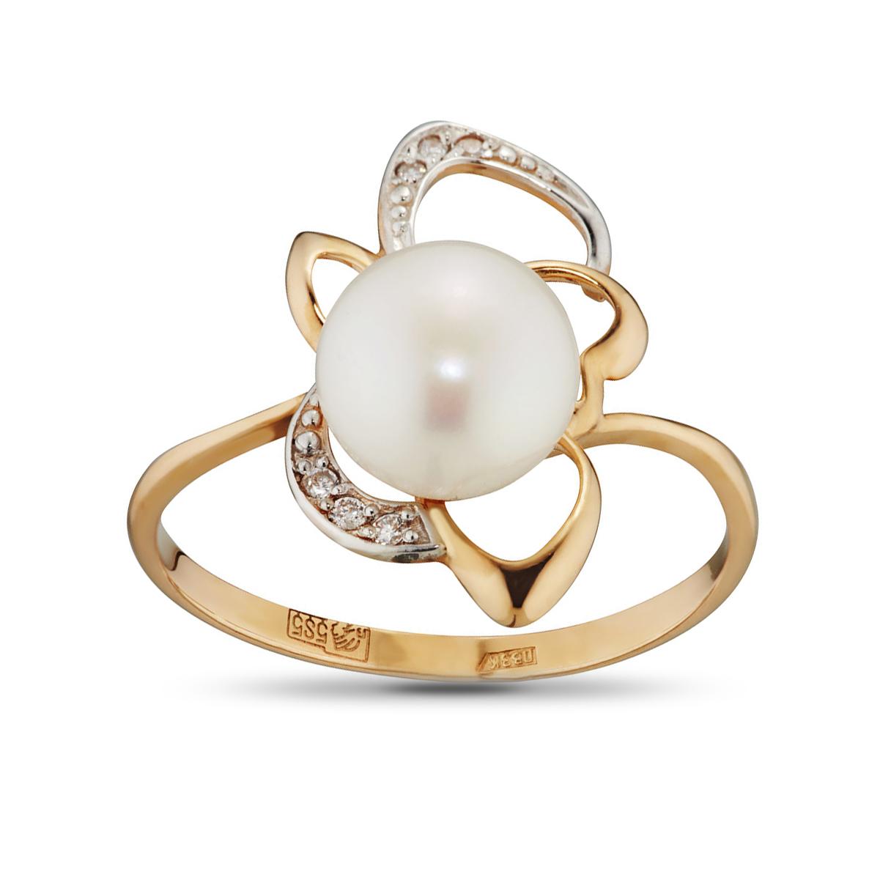 Кольцо с жемчугои и фианитами из золота