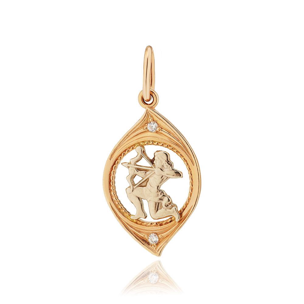 Подвеска из золота с фианитами, знак зодиака Стрелец
