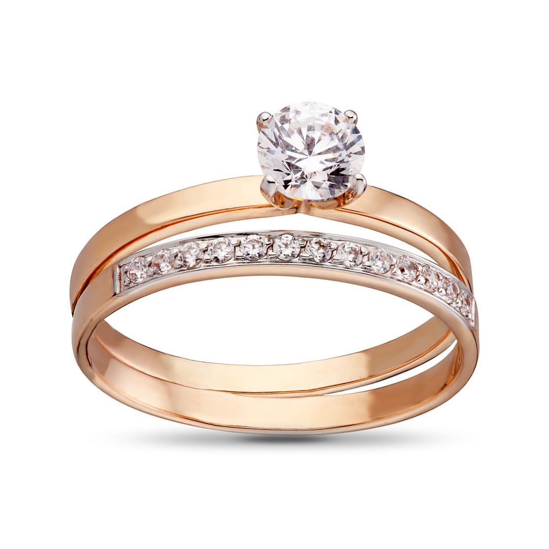 Кольцо-трансформер с кристаллами SWAROVSKI из золота