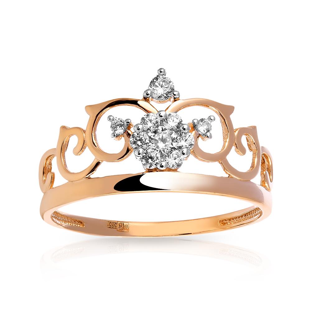 Кольцо Корона с фианитами из золота