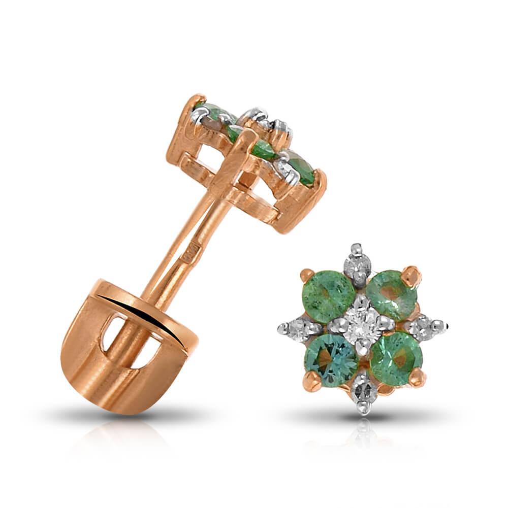 Серьги-пусеты с изумрудами и бриллиантами
