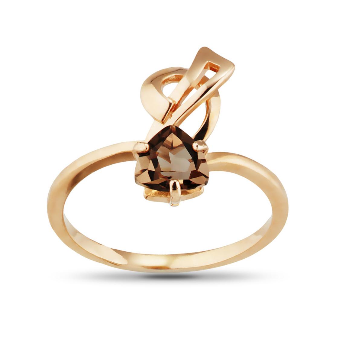 Кольцо из золота с раух-топазом