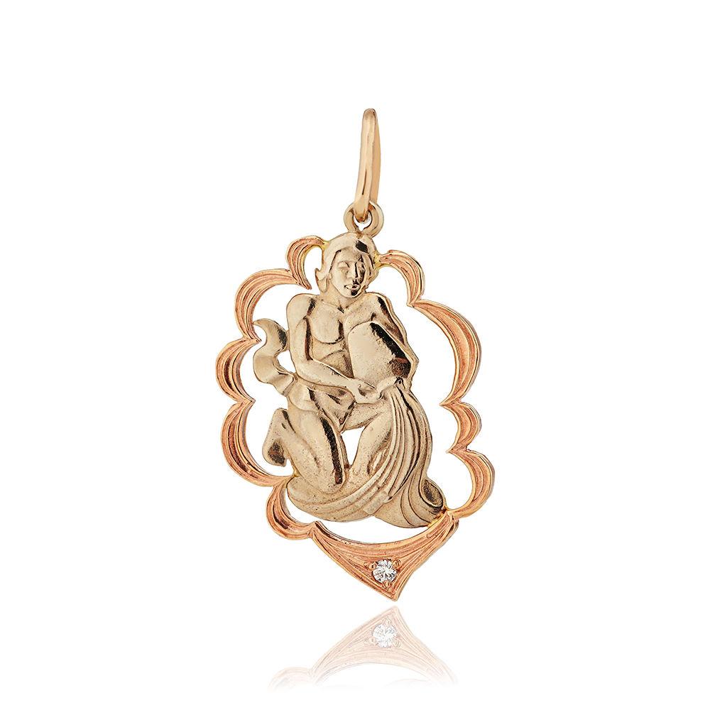 Подвеска из золота с фианитом, знак зодиака Водолей