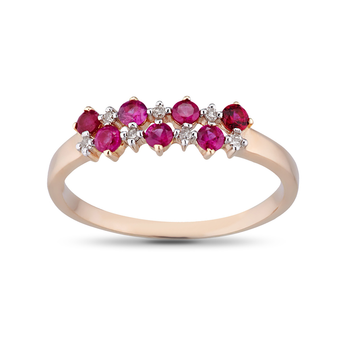 Кольцо с рубинами и бриллиантами из золота