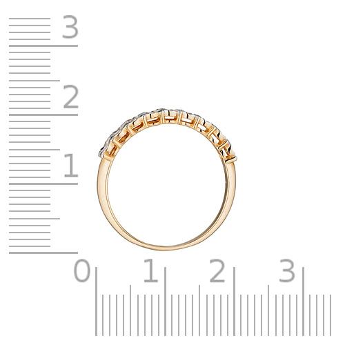 Кольцо с бриллиантами, алмазной гранью и родированием