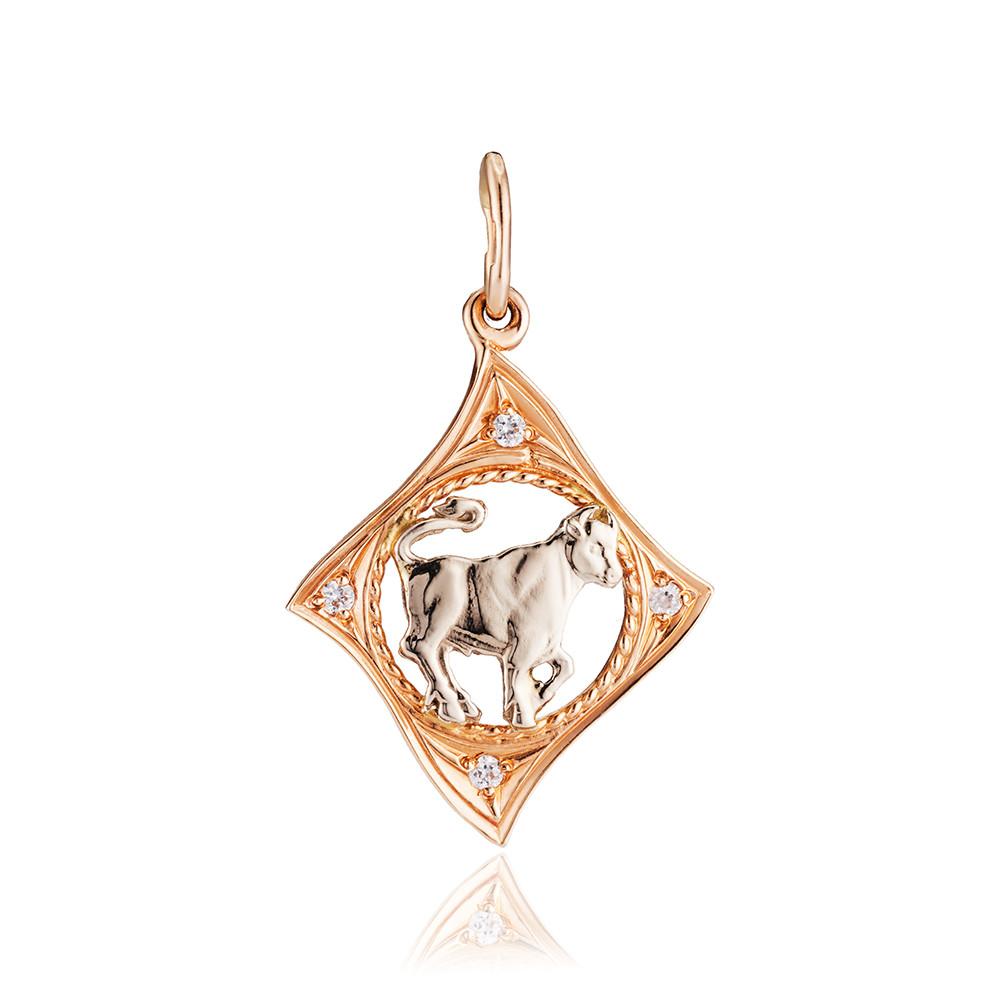 Подвеска из золота с фианитами, знак зодиака Телец