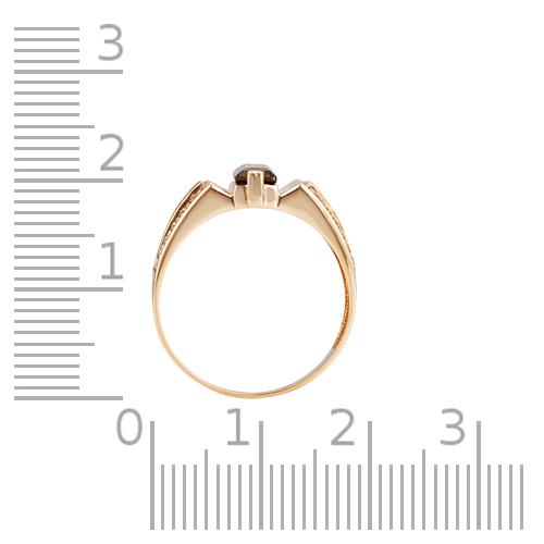 Кольцо-печатка с раух-топазом, фианитом и родированием