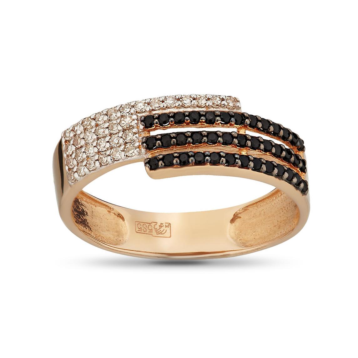 Кольцо из золота с бриллиантами и шпинелью