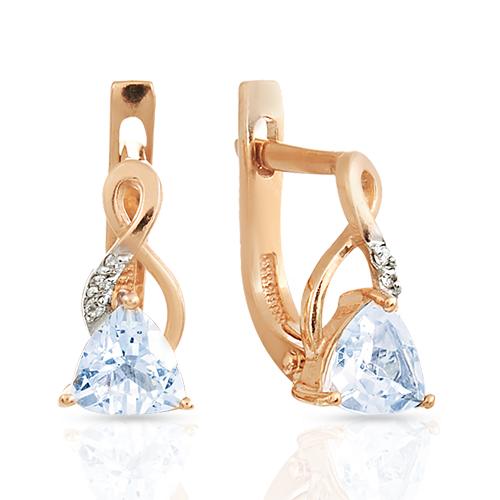 Серьги с топазом и бриллиантами из золота