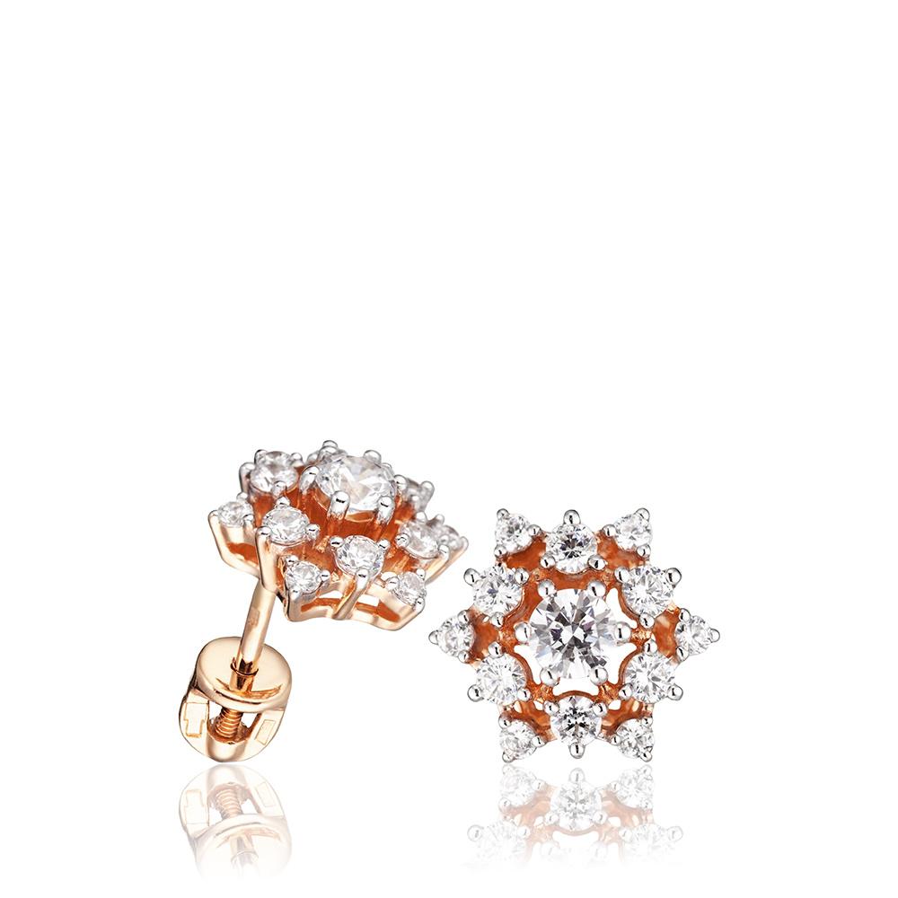 Серьги-пусеты с кристаллами SWAROVSKI из золота