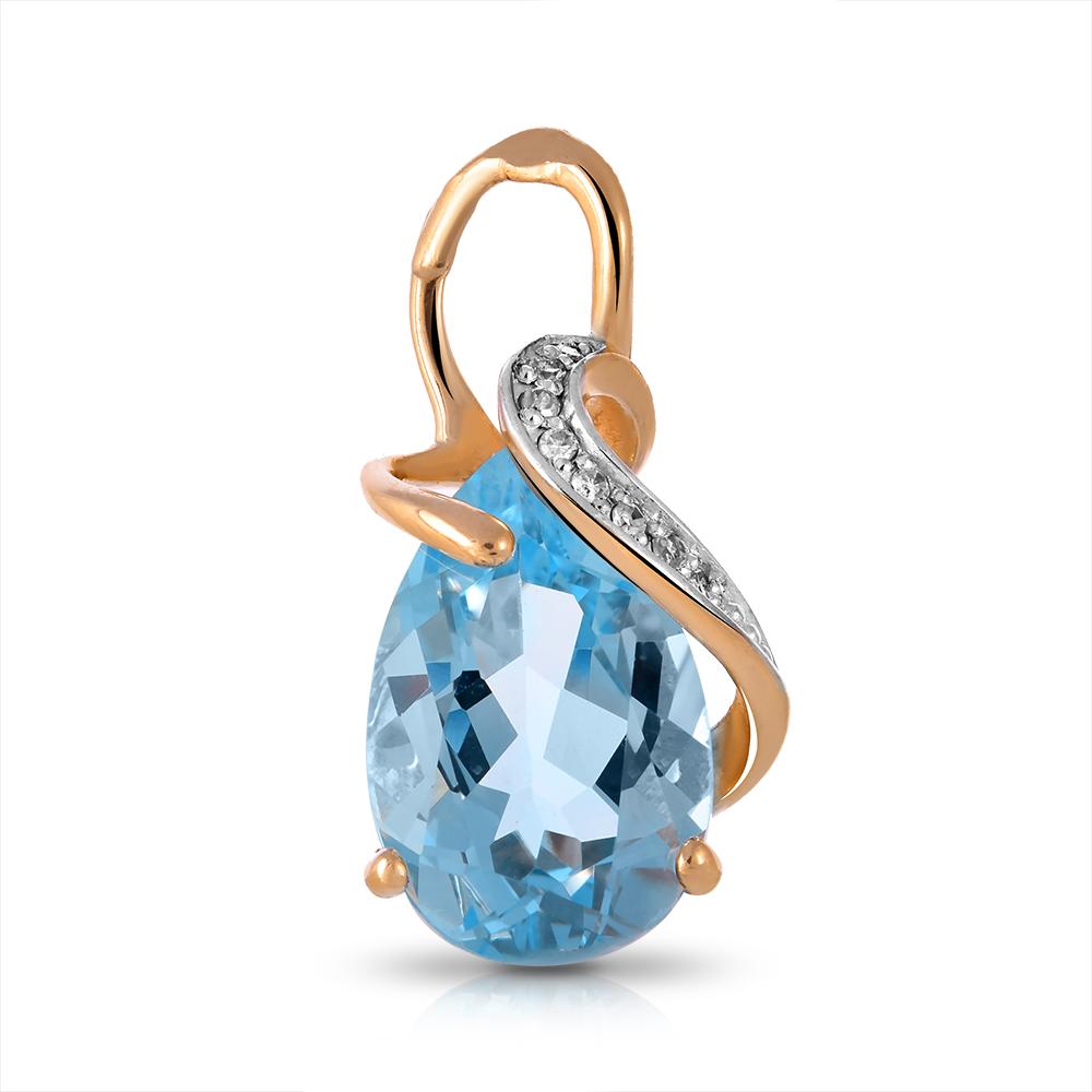 Подвеска из золота с топазом и бриллиантами
