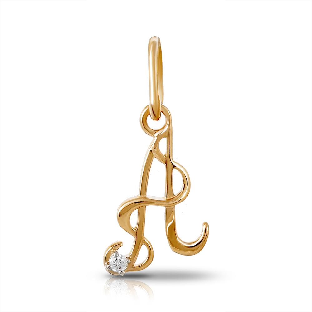 Подвеска буква А из золота с бриллиантом