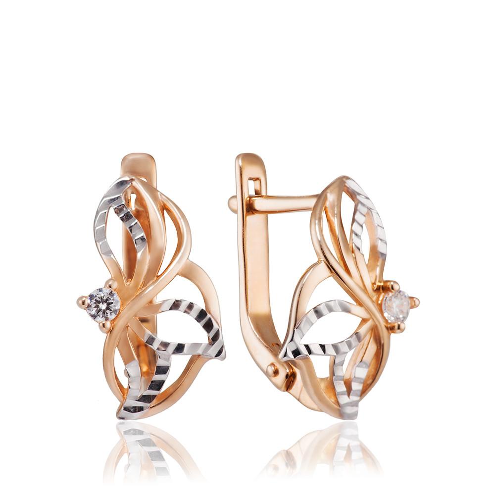Серьги с фианитами, алмазной гранью и родированием
