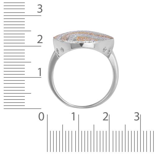 Кольцо с фианитами, родированием и позолотой