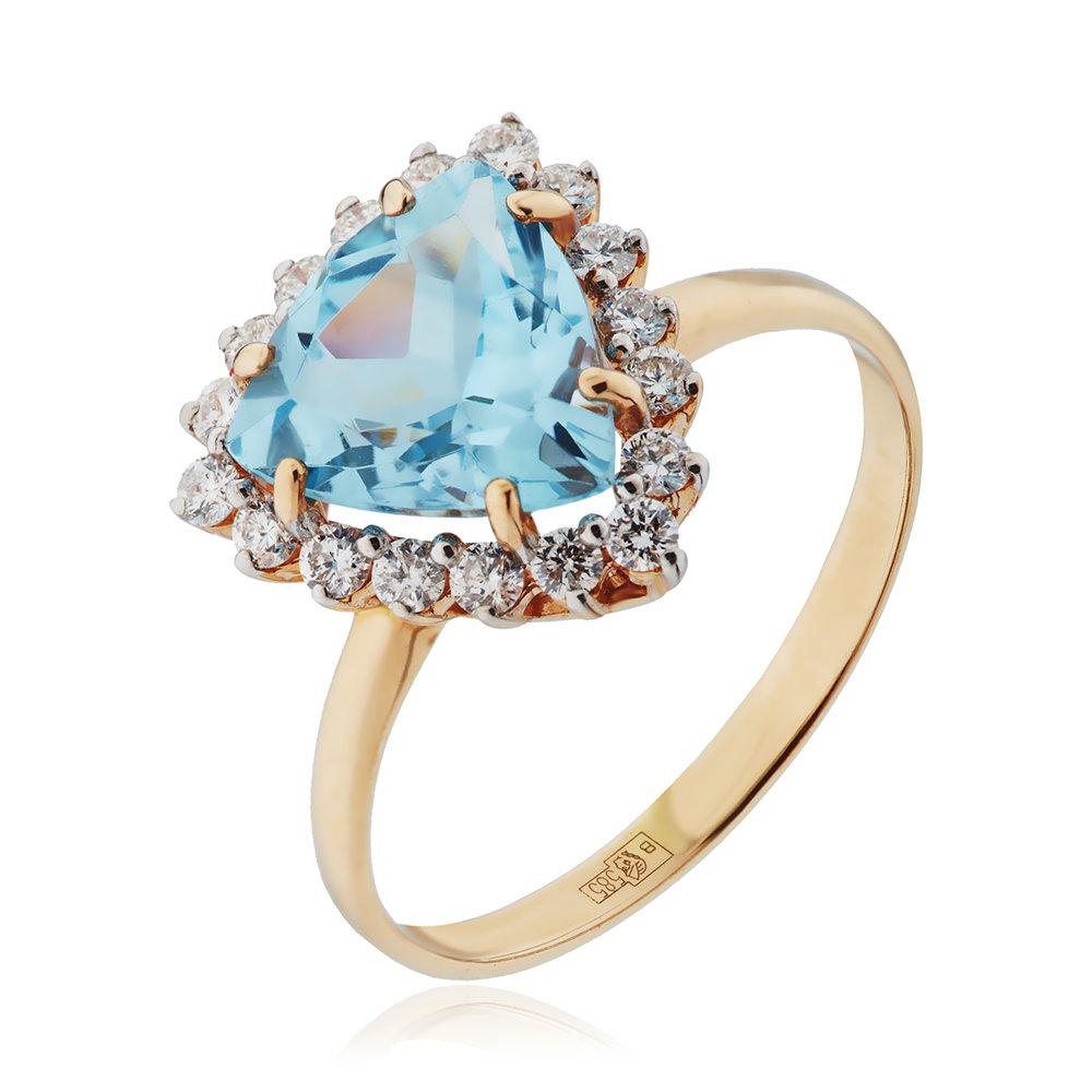 Кольцо с топазом, бриллиантами и родированием
