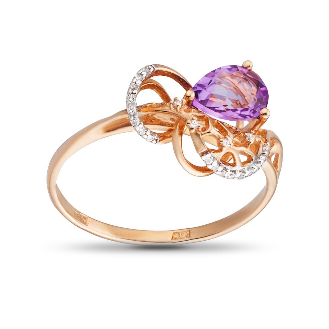 Кольцо с аметистом и кристаллами SWAROVSKI из золота
