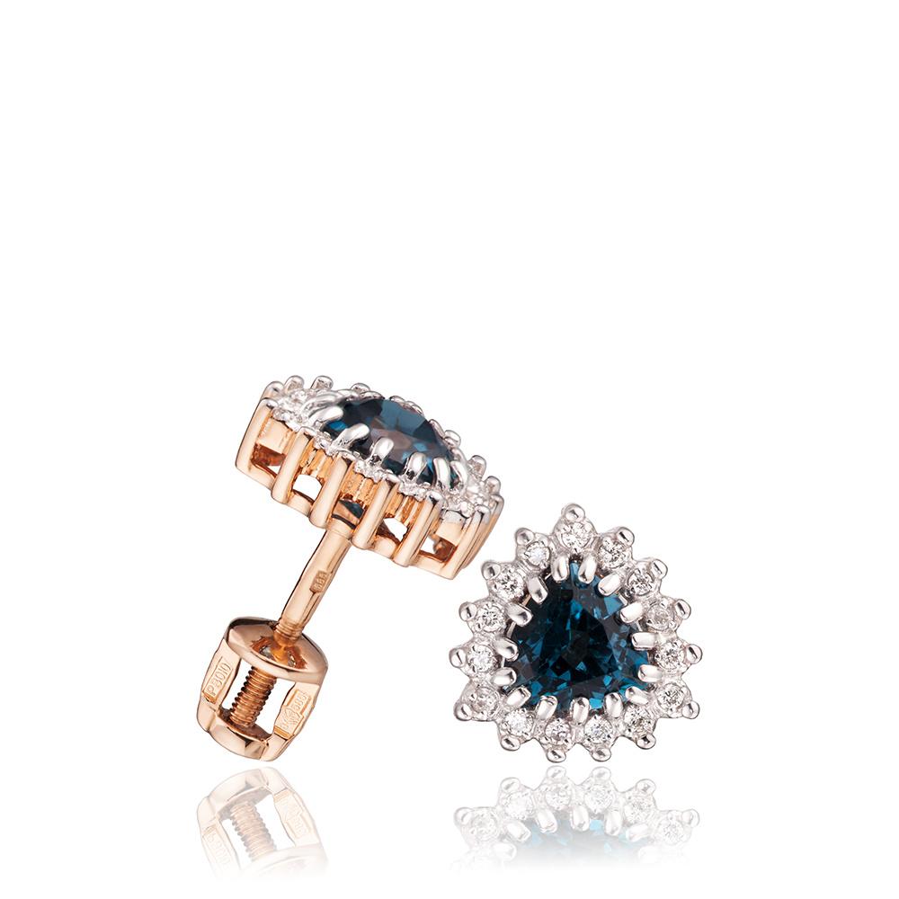 Серьги-пусеты с топазами London и бриллиантами