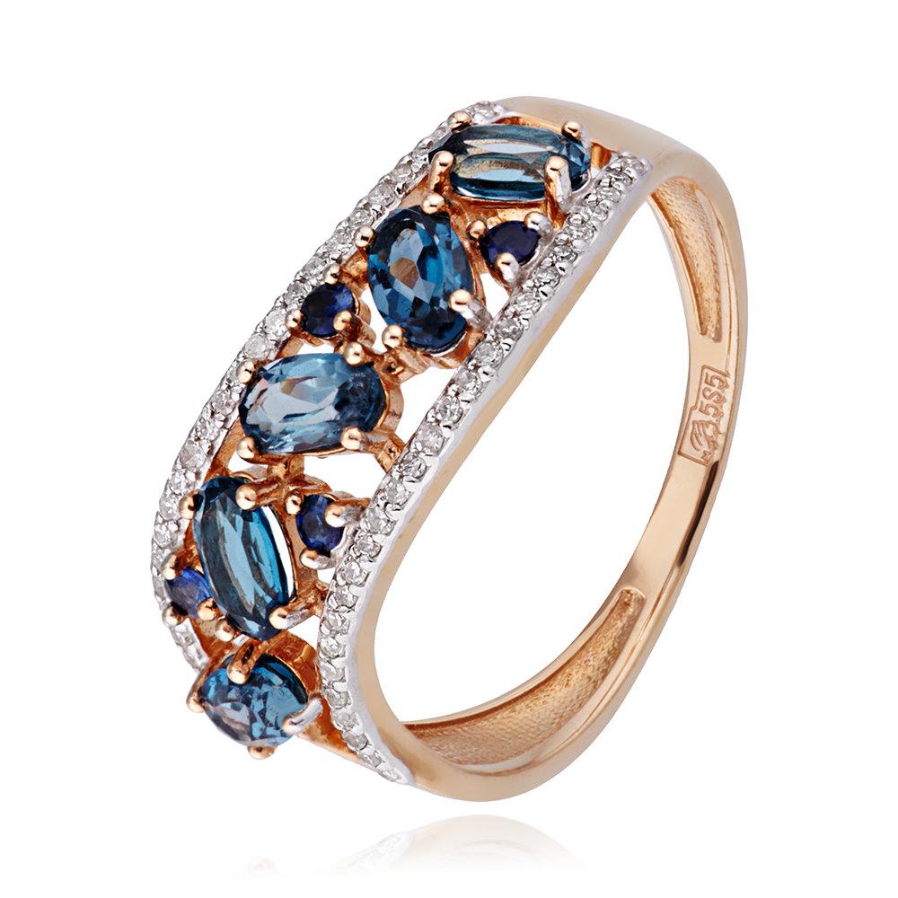 Кольцо с топазами London, сапфирами и бриллиантами