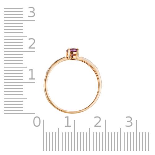 Кольцо с аметистом, фианитами и родированием