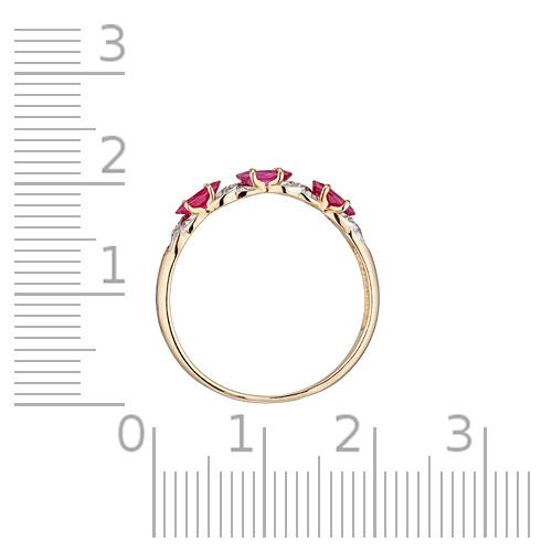 Кольцо с рубинами, бриллиантами и родированием