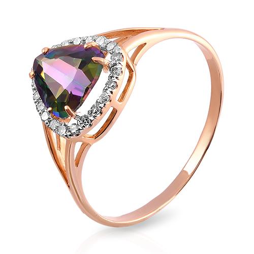 Кольцо с кварцем и бриллиантами из золота