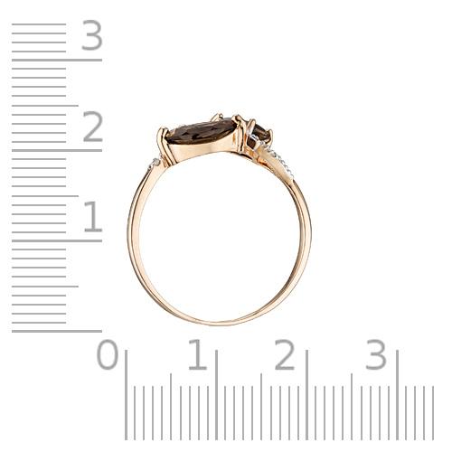 Кольцо с раух-топазами, бриллиантами и родированием
