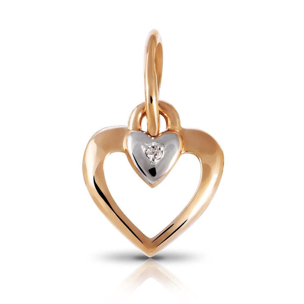 Подвеска Сердечко из золота с бриллиантом