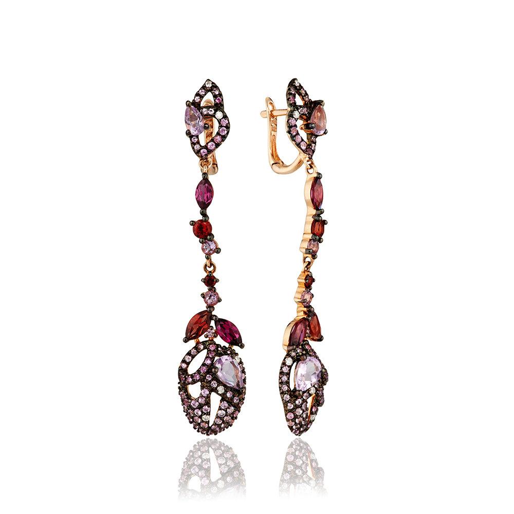 Серьги с сапфирами, бриллиантами и цветными полудрагоценными камнями