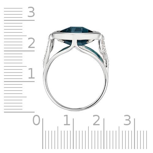 Кольцо с кристаллом и фианитами