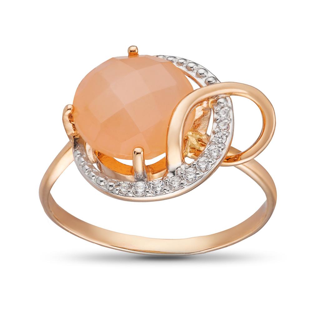 Кольцо с ониксом и фианитами из золота