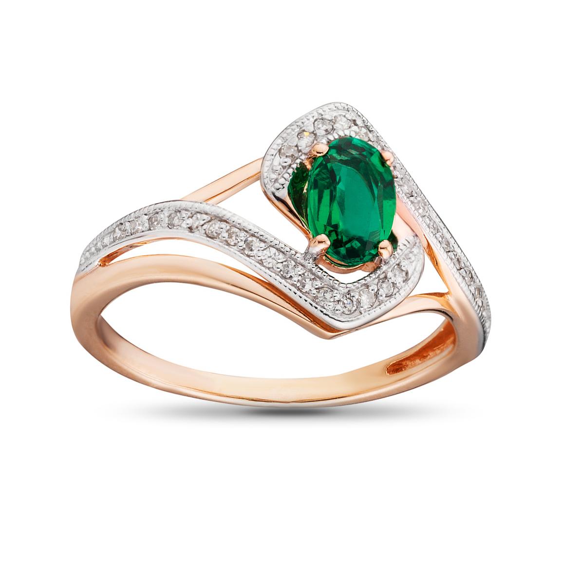 Кольцо с изумрудом и бриллиантами из золота