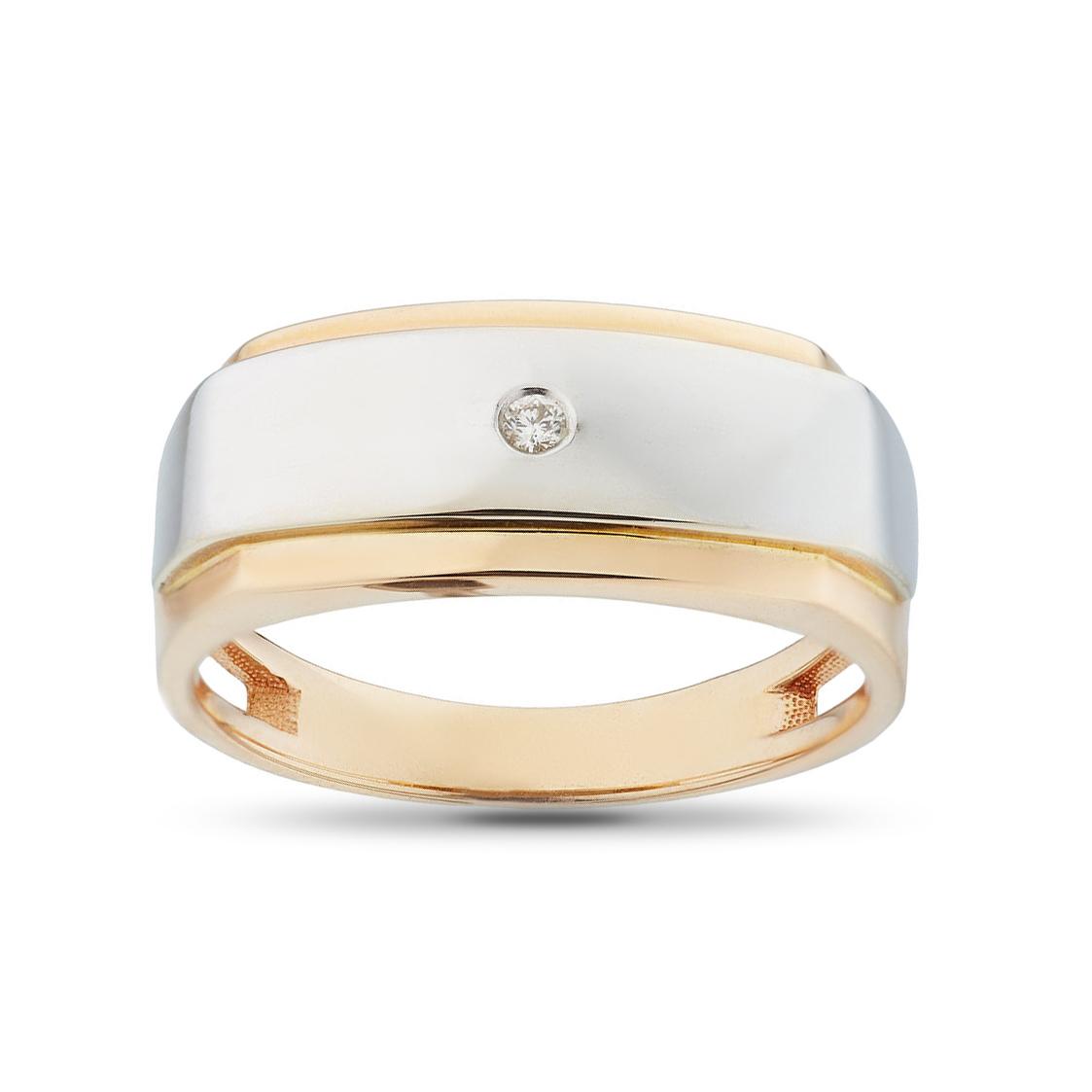 Кольцо печатка с бриллиантом