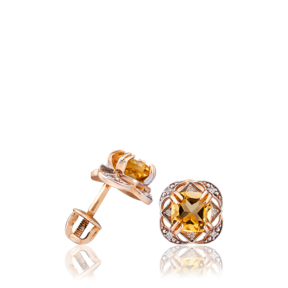 Серьги-пусеты из золота с цитрином и фианитами