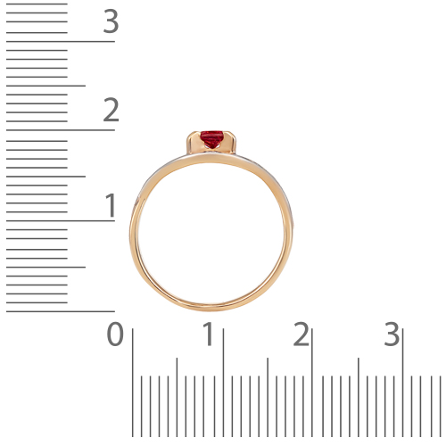 Кольцо с гранатом, фианитами и родированием