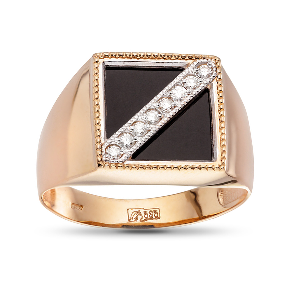 Кольцо-печатка с агатом и бриллиантами из золота