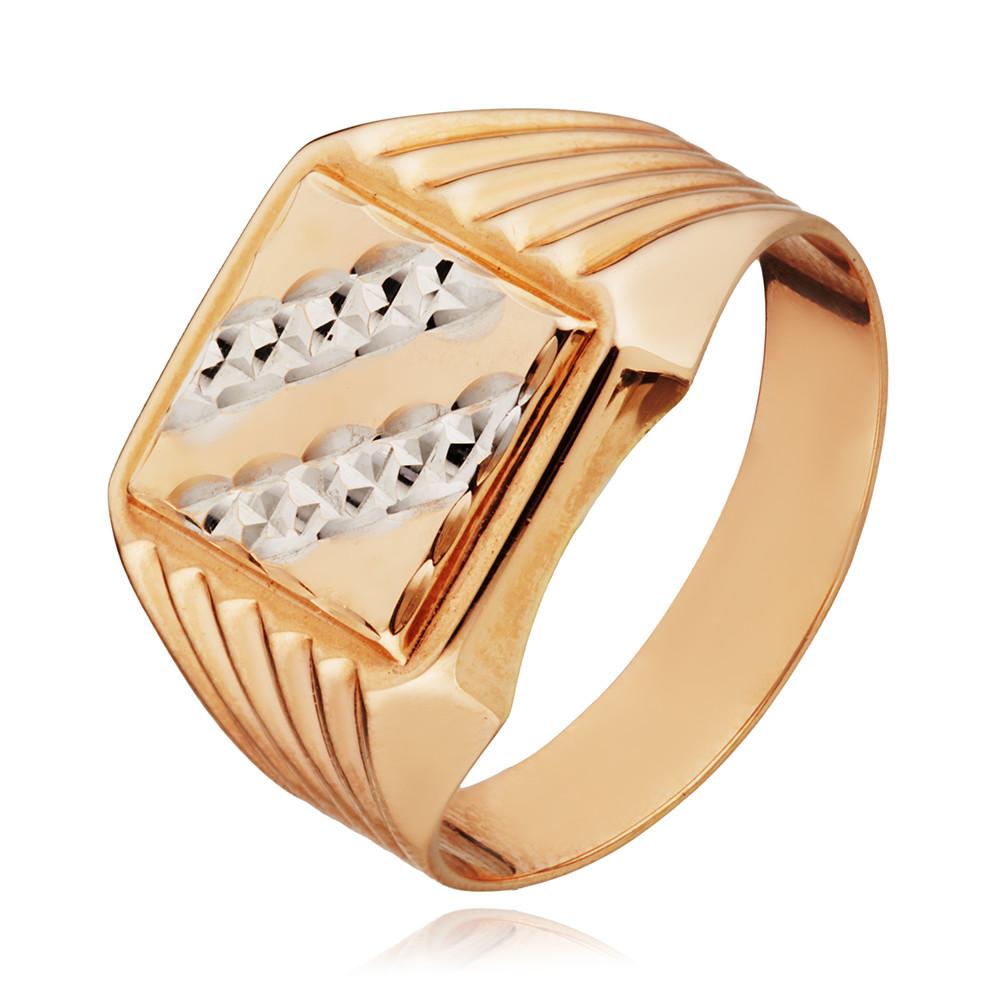 Кольцо печатка с алмазной гранью и родированием