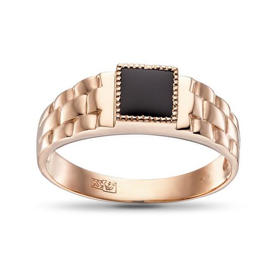 Кольцо-печатка с агатом из золота