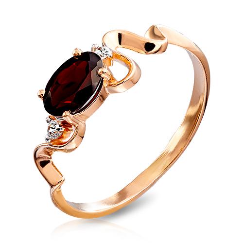 Кольцо с гранатом и фианитами из золота