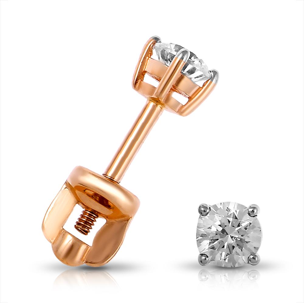 Серьги-пусеты из золота с кристаллом SWAROVSKI
