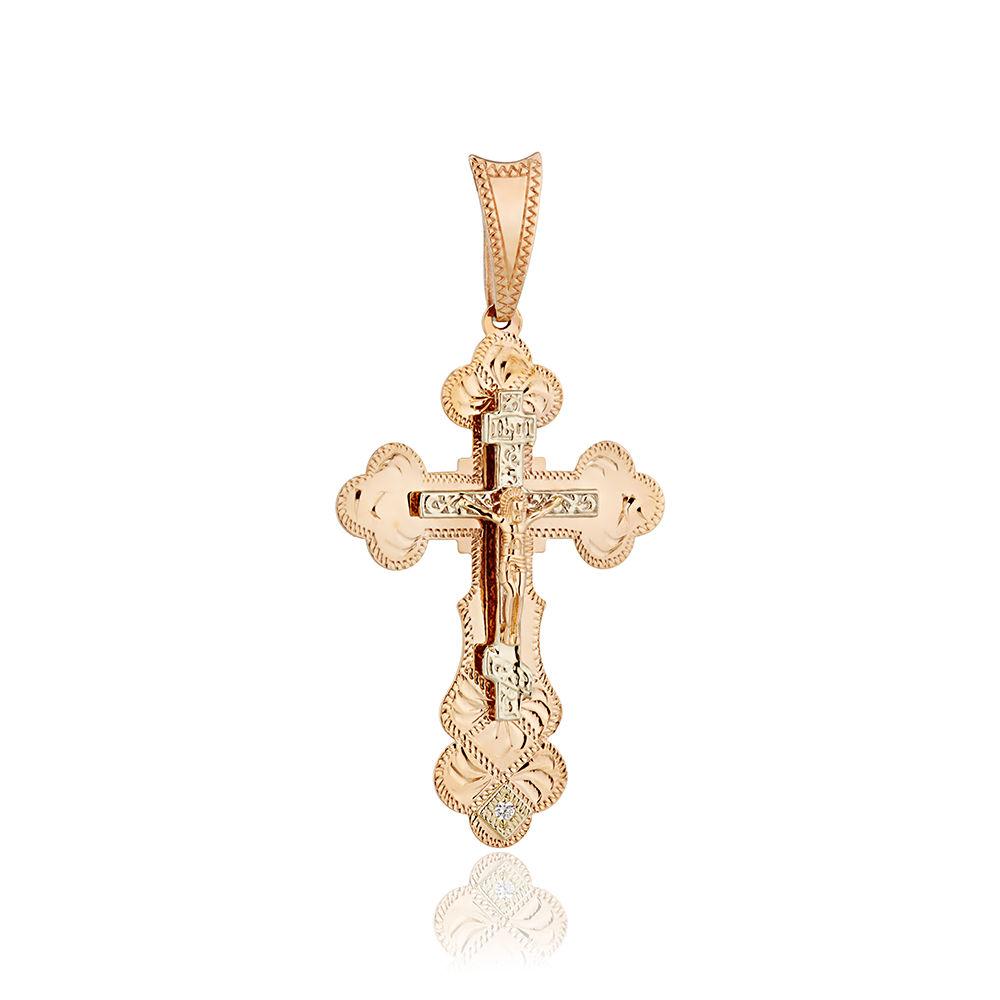 Крест с фианитом и ручной гравировкой