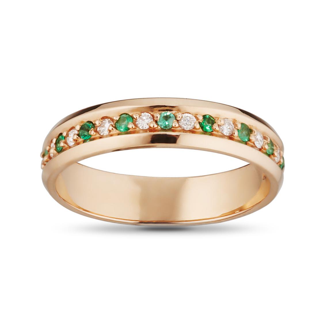 Кольцо обручальное с изумрудами и бриллиантами из золота